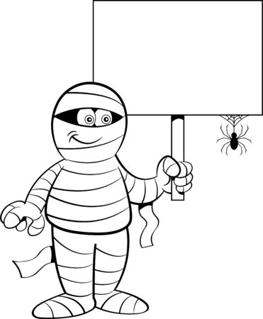 Black and white illustration of a mummy holding a sign with a spider. Illustration