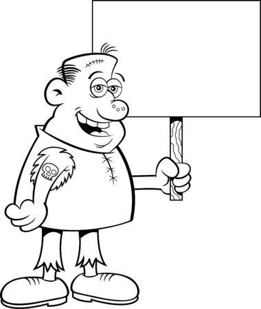 Schwarz-Weiß-Darstellung eines grausamen Charakters, der ein Schild hält. Vektorgrafik