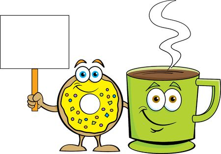 Cartoon illustration of a happy donut standing next to a cup of coffee while holding a sign.