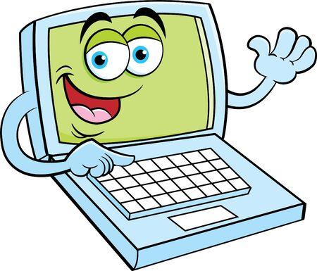 Cartoon illustration of a happy laptop computer waving.