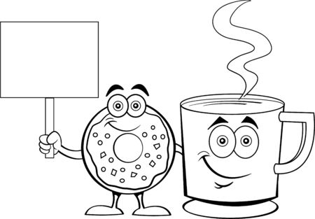 Black and white illustration of a happy donut standing next to a cup of coffee while holding a sign.