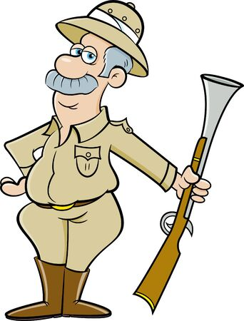 Cartoon illustration of a big game hunter holding a large rifle.