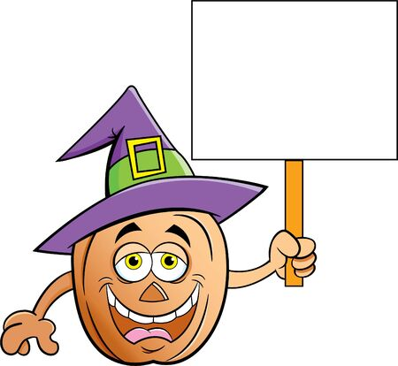 Cartoon illustration of a pumpkin wearing a witch hat and holding a sign.