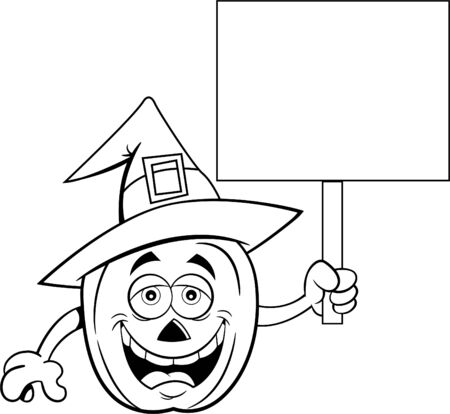Black and white illustration of a pumpkin wearing a witch hat and holding a sign. Stock Vector - 131870816