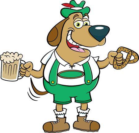 Cartoon illustration of a dog holding a beer mug and a pretzel.