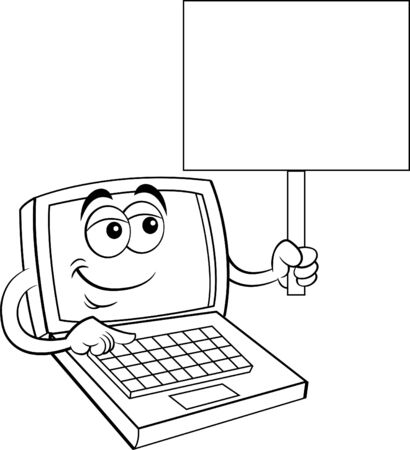 Black and white illustration of a happy laptop computer holding a sign. Çizim