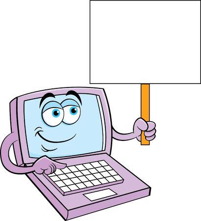 Cartoon illustration of a happy laptop computer holding a sign. Çizim