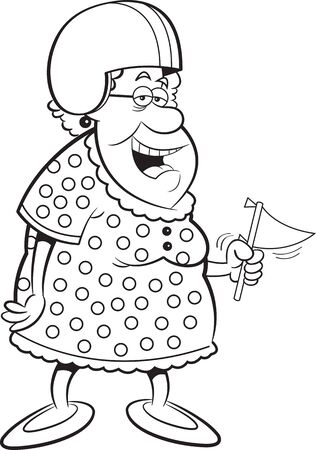 Black and white illustration of an old lady wearing a football helmet while holding a pennant.