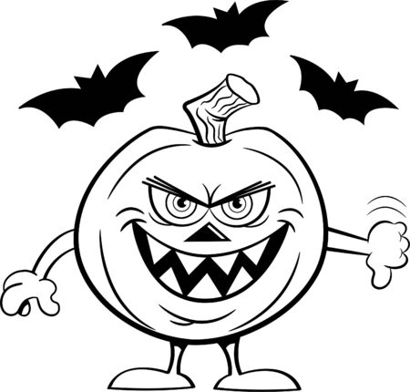 Black and white illustration of an evil smiling jack o lantern giving thumbs down with bats in the background.
