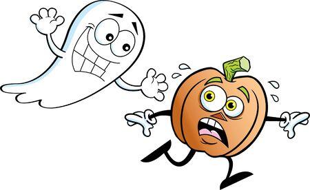 Cartoon illustration of a scared pumpkin running from a ghost. Illusztráció