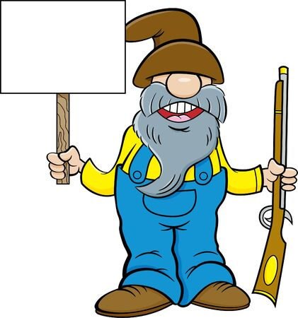 Cartoon illustration of a man with a long beard holding a musket and a sign.