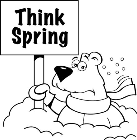 Black and white illustration of a polar bear holding a sign while buried in snow.