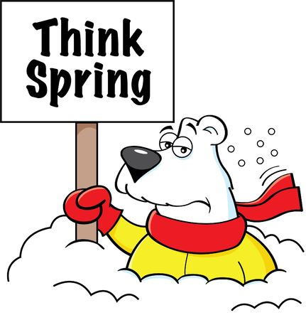 Cartoon illustration of a polar bear holding a sign while buried in snow. 일러스트
