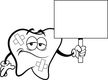 Black and white illustration of a sad tooth with bandages holding a sign. Illusztráció