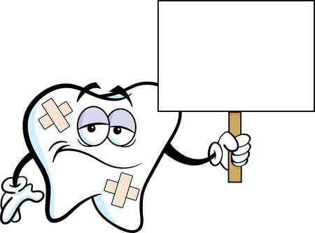 Cartoon illustration of a sad tooth with bandages holding a sign.