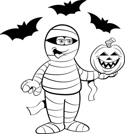 Black and white illustration of a happy mummy holding a pumpkin surrounded by bats.