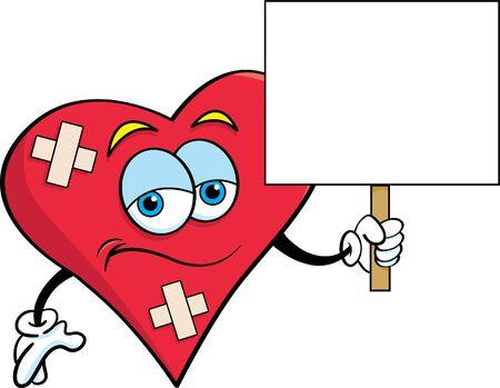 Cartoon illustration of a  sad heart with bandages holding a sign. Illusztráció
