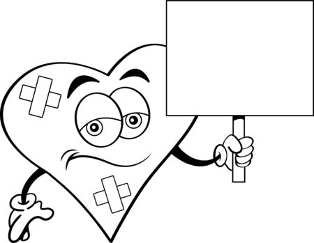 Black and white illustration of a  sad heart with bandages holding a sign.