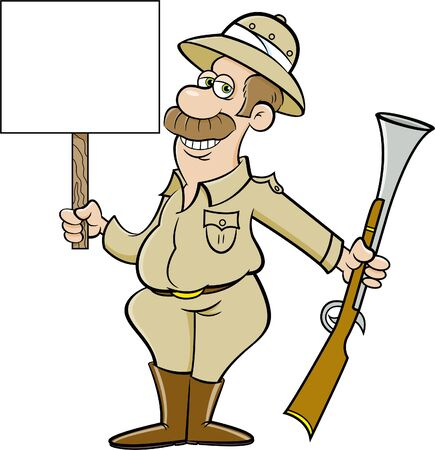 Cartoon illustration of a big game hunter holding a large rifle and a sign. Çizim