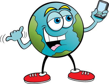 Cartoon illustration of the earth taking a selfie with a cell phone.
