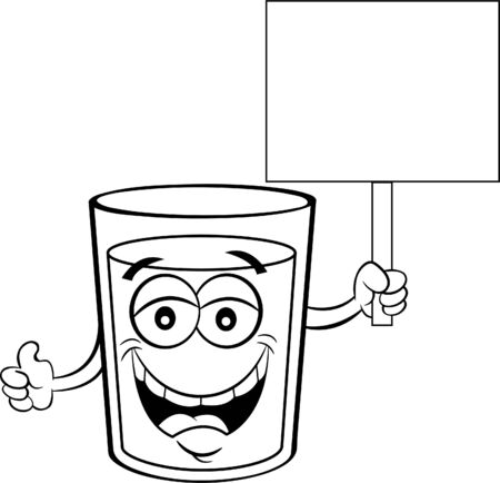 Black and white illustration of a glass of happy liquid holding a sign. Ilustracja