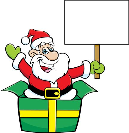 Cartoon illustration of Santa Claus in a large gift box while holding a sign. Illusztráció