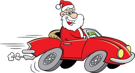 Cartoon illustration of Santa Claus driving a sports car.