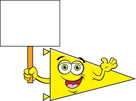 Cartoon illustration of a sports pennant holding a sign. Illusztráció