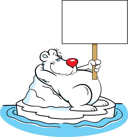 Cartoon illustration of a polar bear laying on an iceberg while holding a sign.