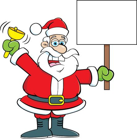 Cartoon illustration of Santa Claus ringing a bell while holding a sign. Illusztráció