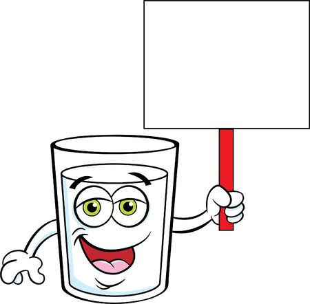 Cartoon illustration of a glass of happy milk holding a sign.