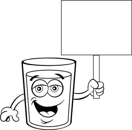 Black and white illustration of a glass of happy milk holding a sign. Illusztráció
