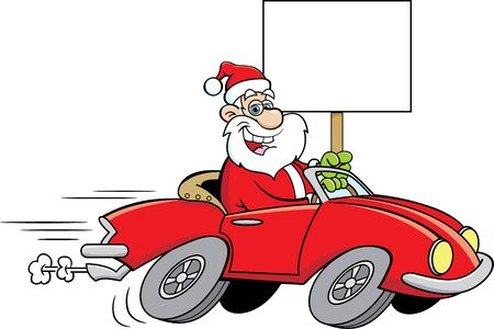 Cartoon illustration of Santa Claus driving a sports car while holding a sign.
