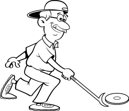 Black and white illustration of a senior citizen playing shuffleboard.