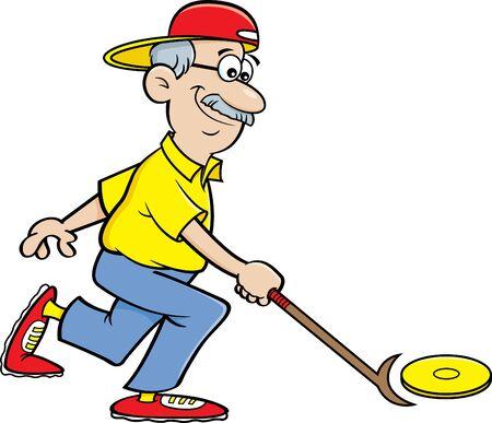 Cartoon illustration of a senior citizen playing shuffleboard.
