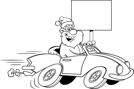 Black and white illustration of Santa Claus driving a sports car while holding a sign.