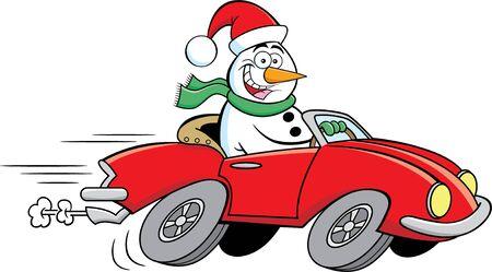Cartoon illustration of a happy snowman driving a sports car.