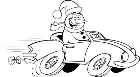 Black and white illustration of a happy snowman driving a sports car.