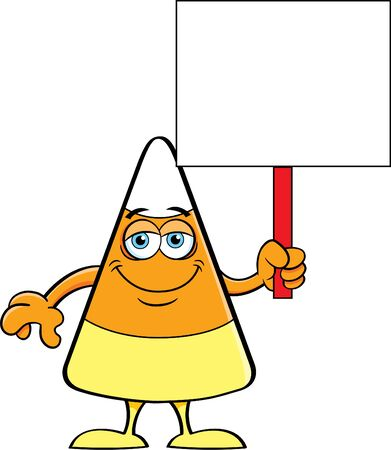 Cartoon illustration of a happy candy corn holding a sign.