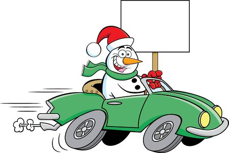 Cartoon illustration of a happy snowman driving a sports car while holding a sign.