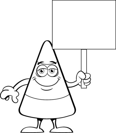 Black and white illustration of a happy candy corn holding a sign.