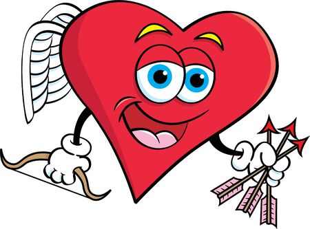 Cartoon illustration of a heart cupid with a bow and holding arrows.