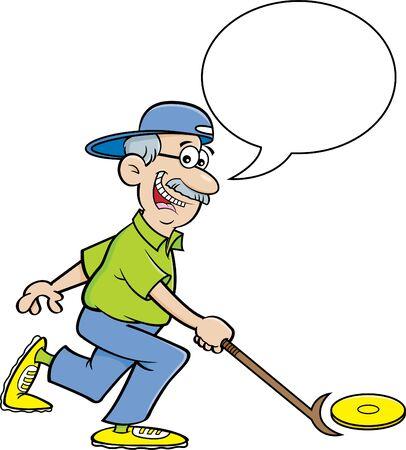 Cartoon illustration of a senior citizen playing shuffleboard with a caption balloon.