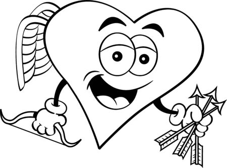 Black and white illustration of a heart cupid with a bow and holding arrows. Illusztráció