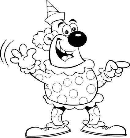 Black and white illustration of a happy clown pointing while waving. Illusztráció