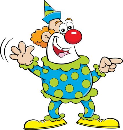 Cartoon illustration of a happy clown pointing while waving.