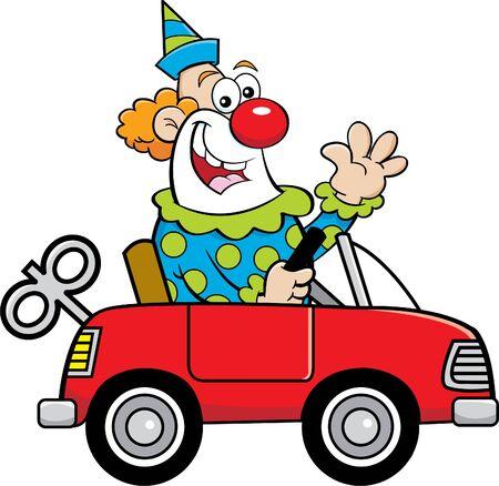 Cartoon illustration of a happy clown driving a toy car while waving. Ilustração