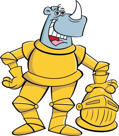 Cartoon illustration of a rhino wearing a suit of armor.