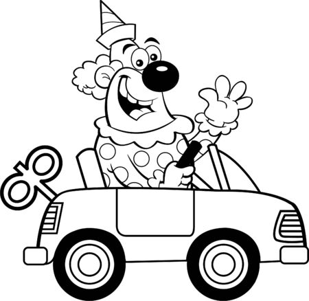 Black and white illustration of a happy clown driving a toy car while waving. Illusztráció