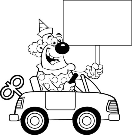 Black and white illustration of a clown driving a toy car while holding a sign.